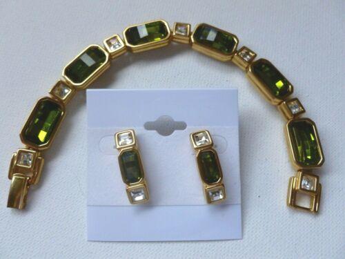 Swarovski Signed Swan Gold Tone Green & Clear Crystal Bracelet Pierced Earrings