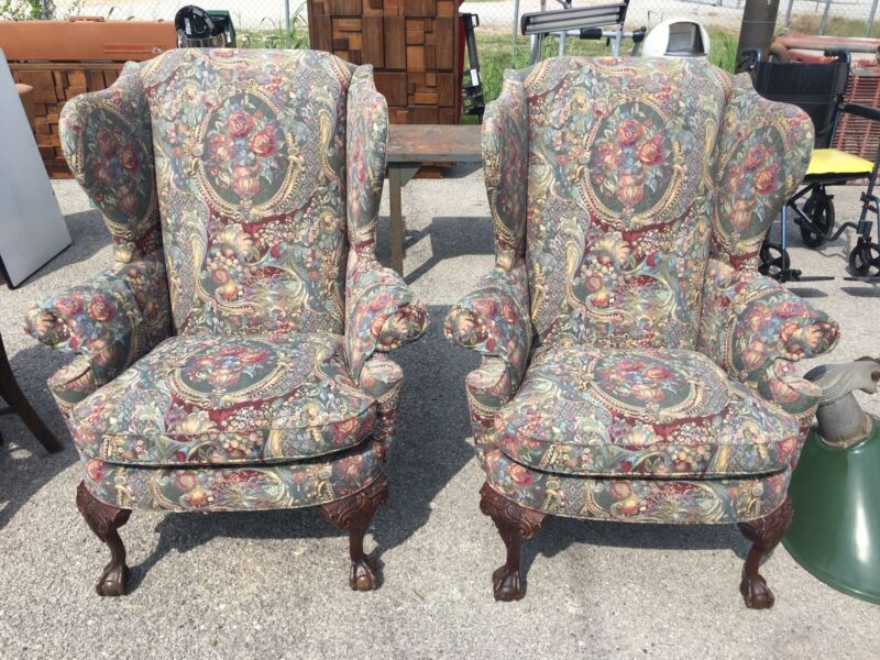 SOUTHWOOD HIGH BACK MAHOGANY CHIPPENDALE BALL AND CLAW WINGBACK CHAIRS