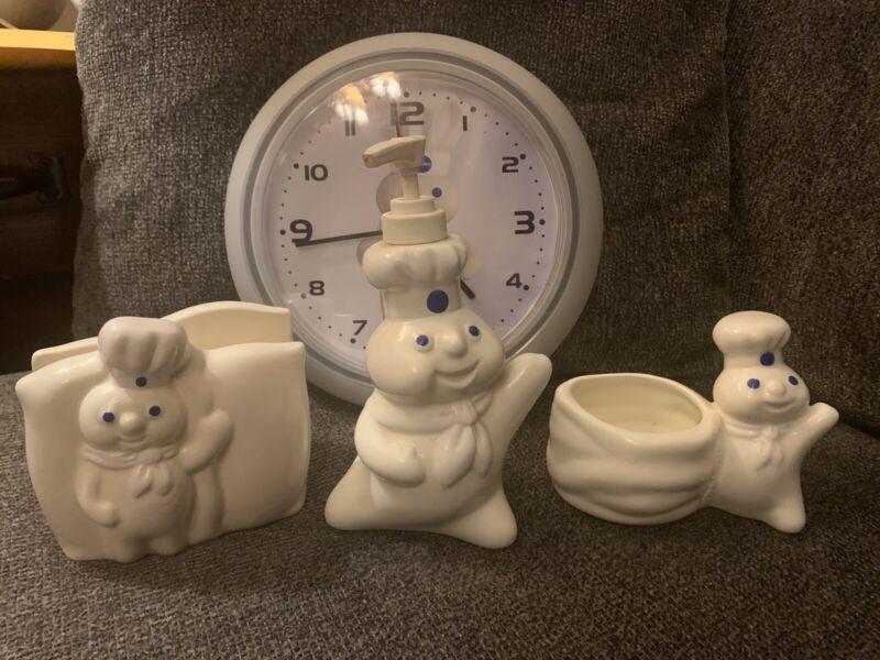 Pillsbury Doughboy Kitchen 4 Piece Lot Soap Dispenser Napkin Holder Clock