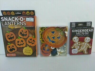 3 BOXES NEW HALLOWEEN METAL PLASTIC COOKIE CUTTERS STAMPS FRED R&M BRANDS