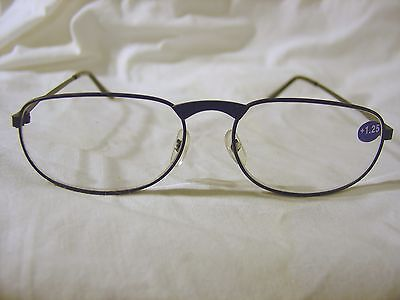 BRAND NEW Pair BLACK Metal Frame Reading Glasses +1.25 Readers Free Shipping