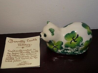 Vintage Signed O'Neill Bunratty castle Pottery Ireland Clover Ceramic Cat