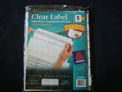 Avery Clear Label Index Maker Presentation Dividers 11437 8 Tabs 5 Sets