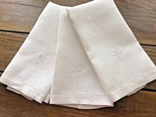 3 Vintage Bright White Crisp Linen Hand Towels Monogram T 14X22 Hem Stitched