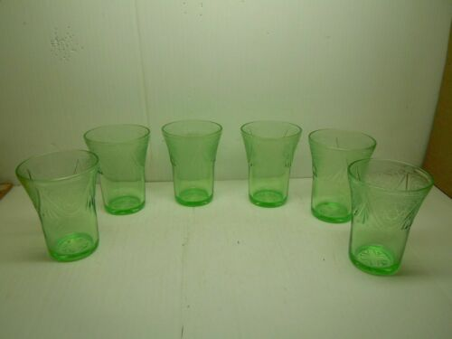 "Rare vintage lot of 6 ROYAL LACE by Hazel Atlas GREEN 5 oz 3 1/2"" H Flat Tumbler"