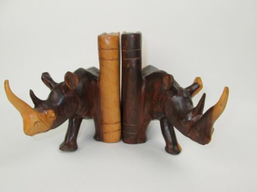 2 Bookends Rhinoceros Rino Book Each Is One Solid Piece Hand Carved Wood