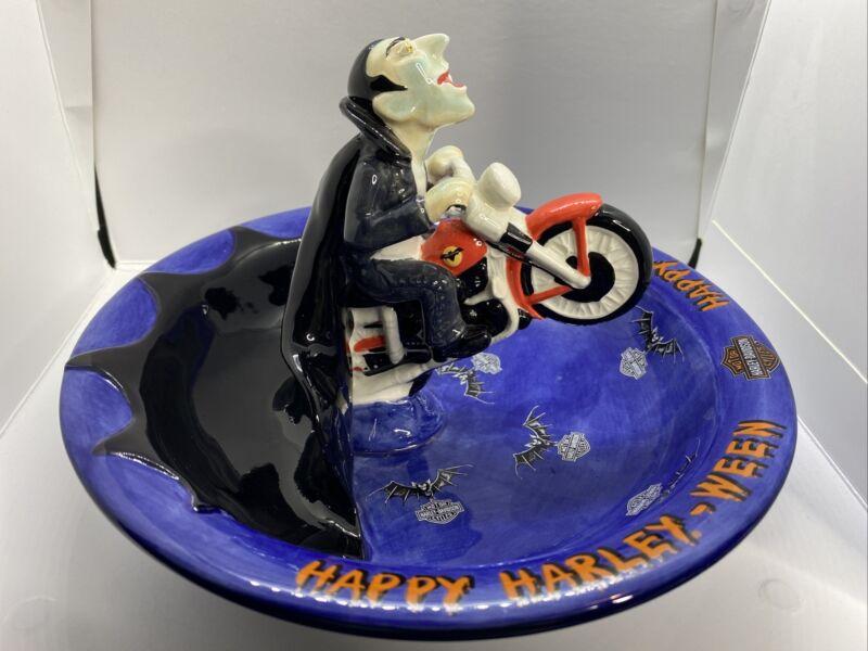 Harley-Davidson ceramic Halloween CANDY TREAT BOWL Happy Harley-Ween Dracula