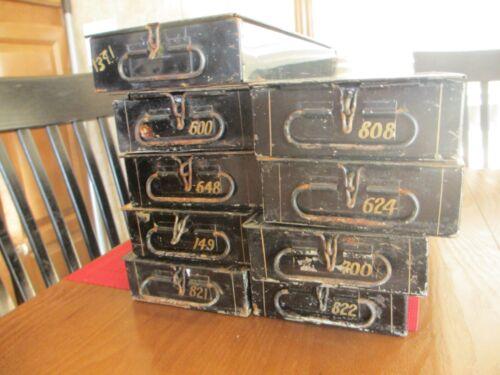 LOT of 9 Vintage Black w Gold Mosler Safety Deposit Box Metal Safe Money