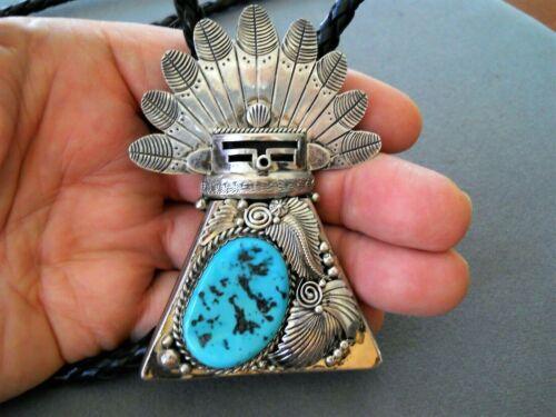 JEREME DELGARITO Navajo Sleeping Beauty Turquoise Sterl. Silver Kachina Bolo Tie