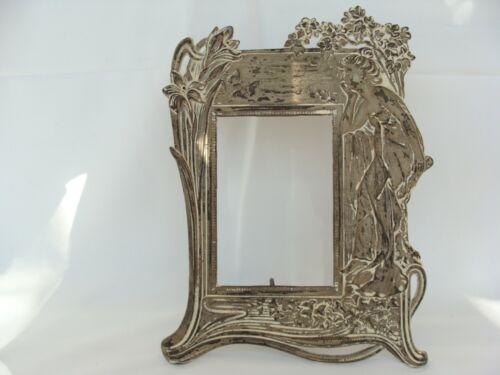 vintage Art Nouveau Lady Cast Iron Photo Picture Frame Easel Stand Mirror