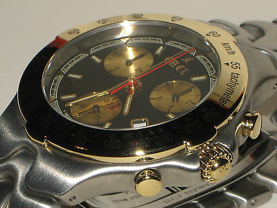 EBEL MEN'S SPORTWAVE CHRONOGRAPH WATCH---SOLID 18 K GOLD& SS--MINT IN BOX