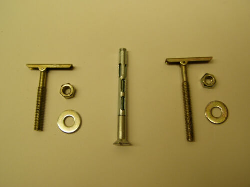 """Lot of five (5) 1/4"""" T-Toggle Bolt or Flat Head Sleeve Anchor 1-3/4 2-1/2 3-1/8"""""""