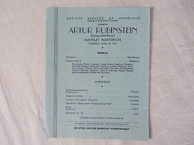 Artur Rubinstein Program April 1941 McKinley Auditorium Honolulu Hawaii   #7337