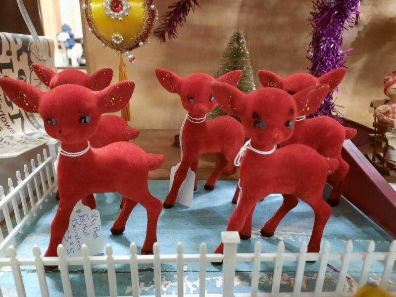 Vtg CHRISTMAS RED FELTED REINDEER LOT - 5