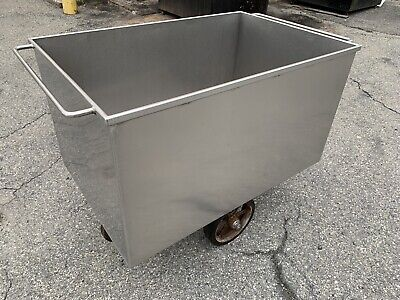 Heavy Duty Stainless Steel Meat Dough Transport Cart Tub Tank Vat With Drain