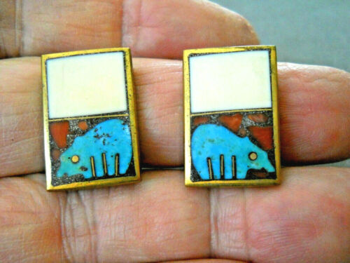 Colorful ANDREW SHOWS Southwestern Multi-Stone Bear Inlay Bronze Clip Earrings