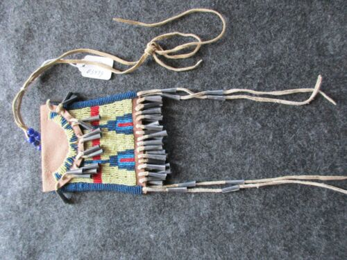 NATIVE AMERICAN BEADED LEATHER TOBACCO BAG, MEDICINE POUCH, SD-03499