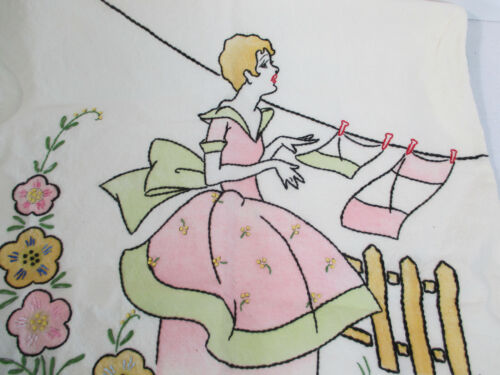 Laundry Bag Hamper Vintage Embroidered Hanging Woman Clothesline Cotton