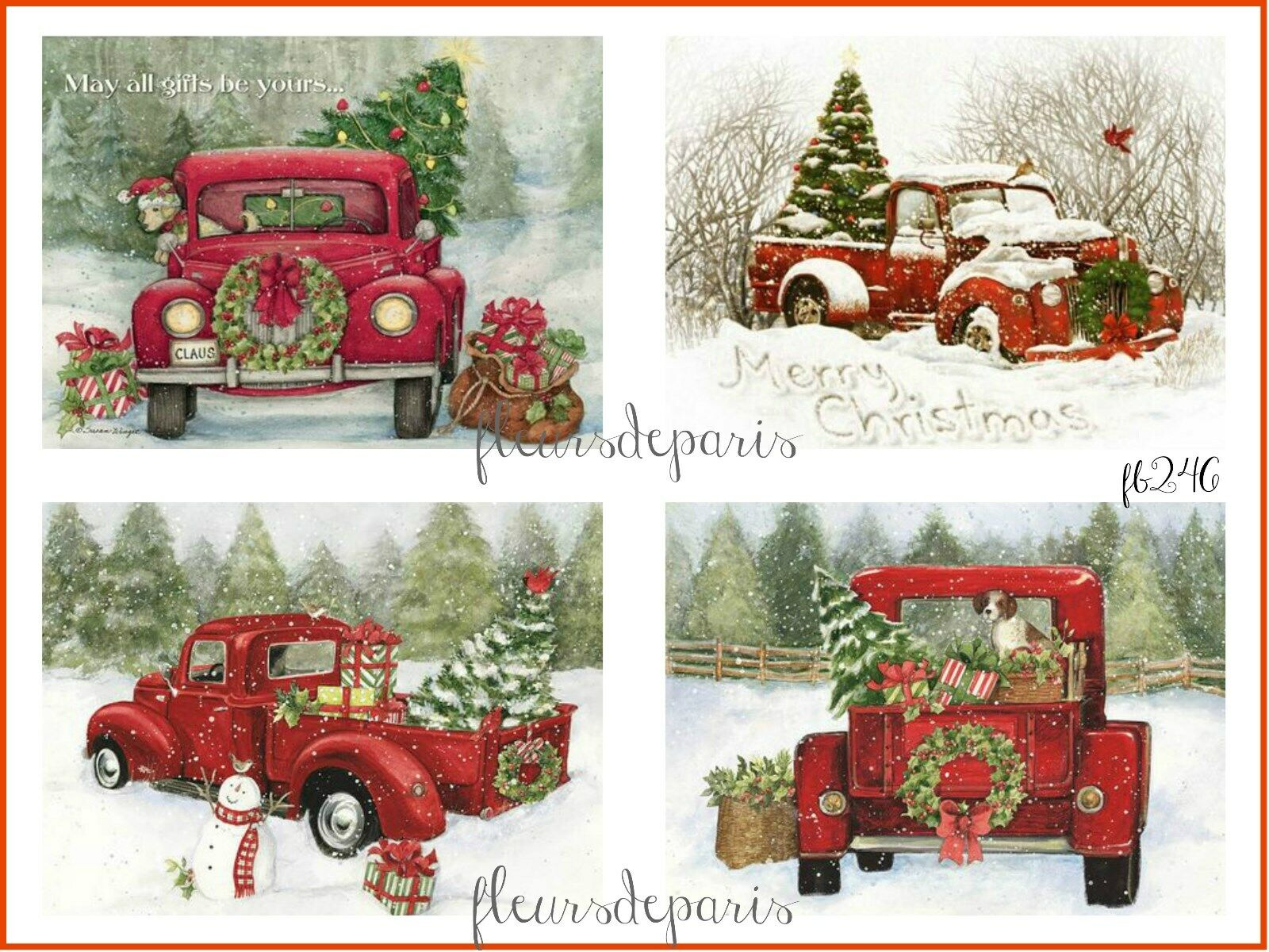 Vintage Christmas.Details About Vintage Christmas Home For The Holidays Red Trucks 4 Prints On Fabric Fb 246