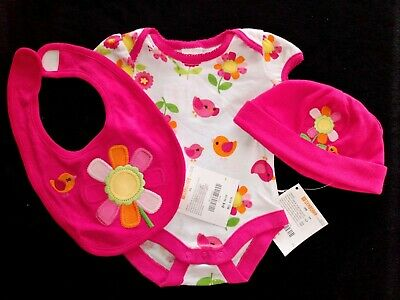 NWT Newborn baby girlHot Pink Cotton 3pc hat & bib & bodysuit set. 100% Cotton Bodysuit Set