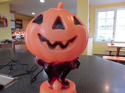 Vintage Blow Mold Halloween Pumpkin Black Cat Dancing Skeletons - It Lights