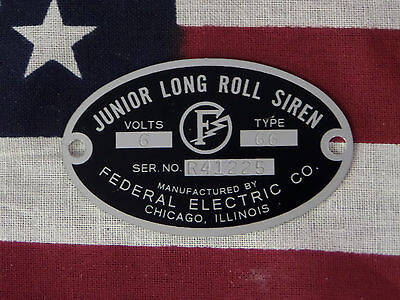 Federal Electric Co. Junior Long Roll Model 28 78 Replacement Badge 6 Or 12 V.