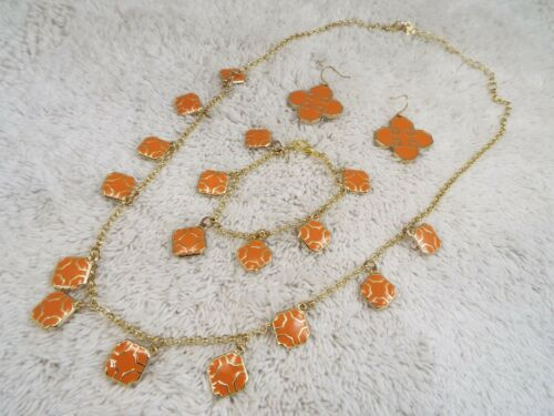D BRAND Goldtone Orange Necklace + Pierced Earrings + Bracelet ~ 3 pc SET (D78)