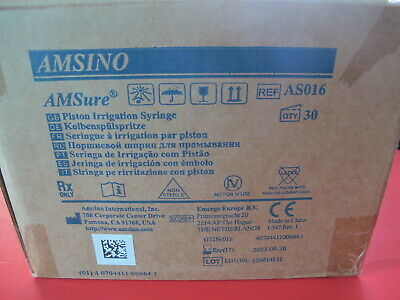 Box Of 30 Amsino Syringe 60cc Piston Irrigation Cath Tip Ref As016