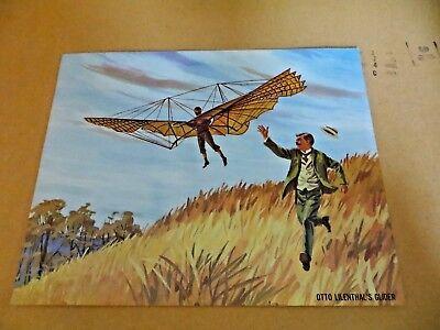 Vintage 1962 Teach A Chart Poster 1891 Otto Lilenthal Glider Flight #8