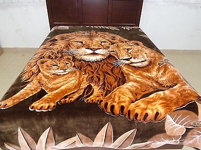 Solaron Korean Blanket throw thick Mink Plush baby Lion family brown color queen
