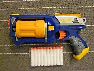 NERF N Strike Maverick Rev-6 Blue Yellow Revolver Blaster Party Dart Gun ammo