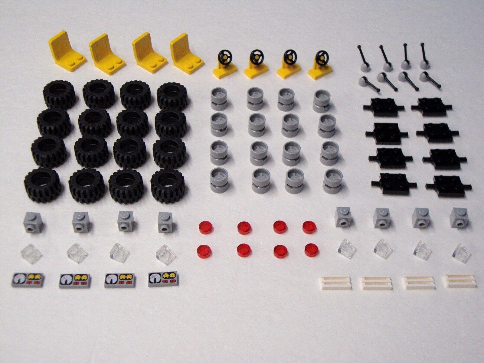Car Parts - Lego Tires Steering Wheels Seats Axles 100% Lego Brand Bulk Pieces Car Parts Lot