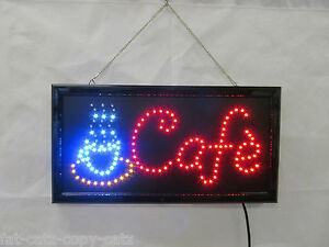 QUALITY BRIGHT FLASHING CAFE COFFEE OPEN NEON SHOP DISPLAY SIGN 48cmx25cm UKSELL