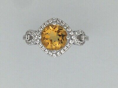 Natural Citrine with White Sapphire Ring 925 Sterling Silver ()