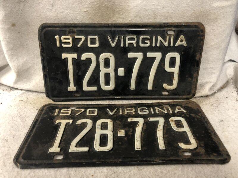 Vintage 1970 Virginia License Plate Pair