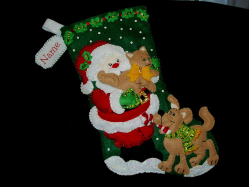 """Santa and Pals Handmade Felt Stocking Personalized Finished Complete Lined 18"""""""