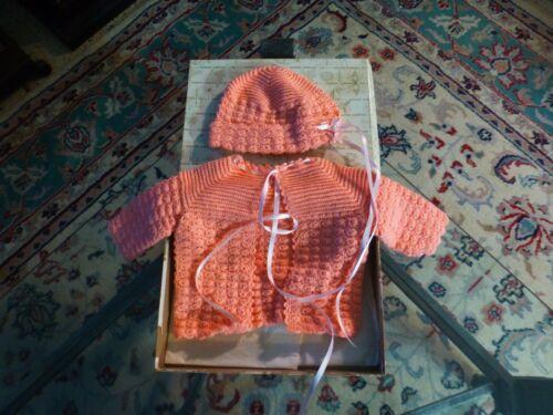 Vintage J.L. HUDSON COMPANY Salmon Knit Baby Sweater & Bonnet W/ Box VG !