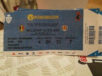 Ticket : Belgique - Écosse Scotland 11-06-2019 Qualifications Euro 2020