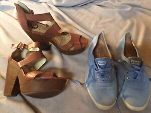 Heels and keds shoes