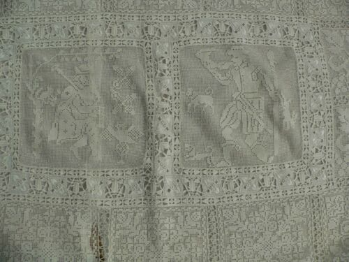 Large Antique Italian Lace Pillow Sham 32 X 23.5 Inches