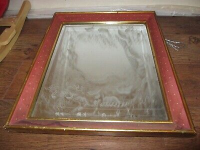 Vintage Beveled mirror hand engraved 1984 A.D. Beesley in heavy wooden frame