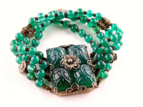 Antique Chinese Carved Green Agate Flower and Silver Multi Strand Bead Bracelet