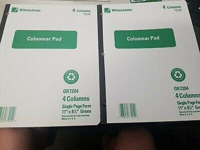 Lot Of 2 -wilson Jones 4 Column Analysis Pads 50 Sheets Each 11 8 Green