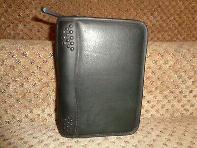 Franklin Covey Sporty Black Nappa Leather Compact Size Zipper Close Planner