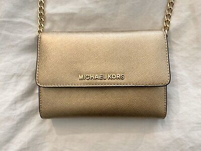 Michael Kors Gold Wallet On A Chain Crossbody Saffiano Leather