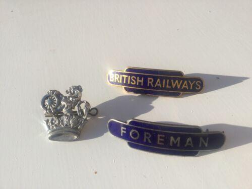 3 Vintage British Railways Cap Badges Enamel Metal Inc Foreman JR Gaunt Rare