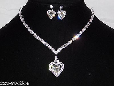 Wedding Bridal Silver W. Clear Rhinestone Crystal Heart Necklace & Earrings Set