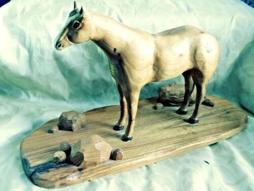 Hand-Carved Wood Statuette Quarter-Horse Native Branding Rocks Harry V Jones