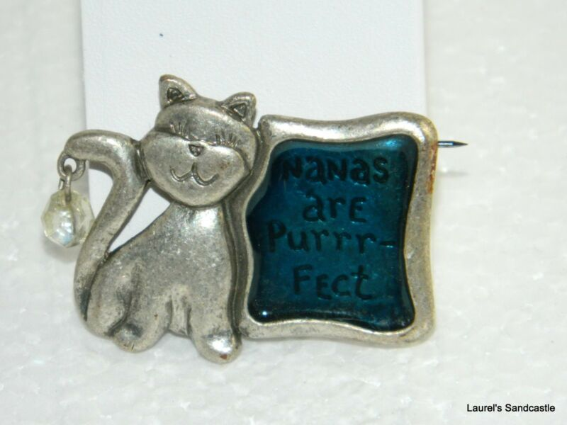 "Kitty Cat with Frame Pin Brooch ""NANAS ARE PURRR-FECT"" Pewter & Enamel Signed TC"