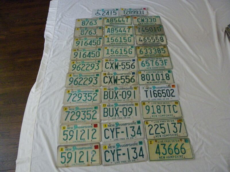 License Plate Lot: New Hampshire (total 32 includes 10 pairs)